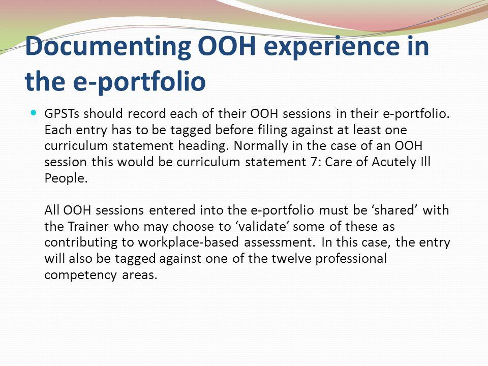 Documenting OOH experience in the e-portfolio