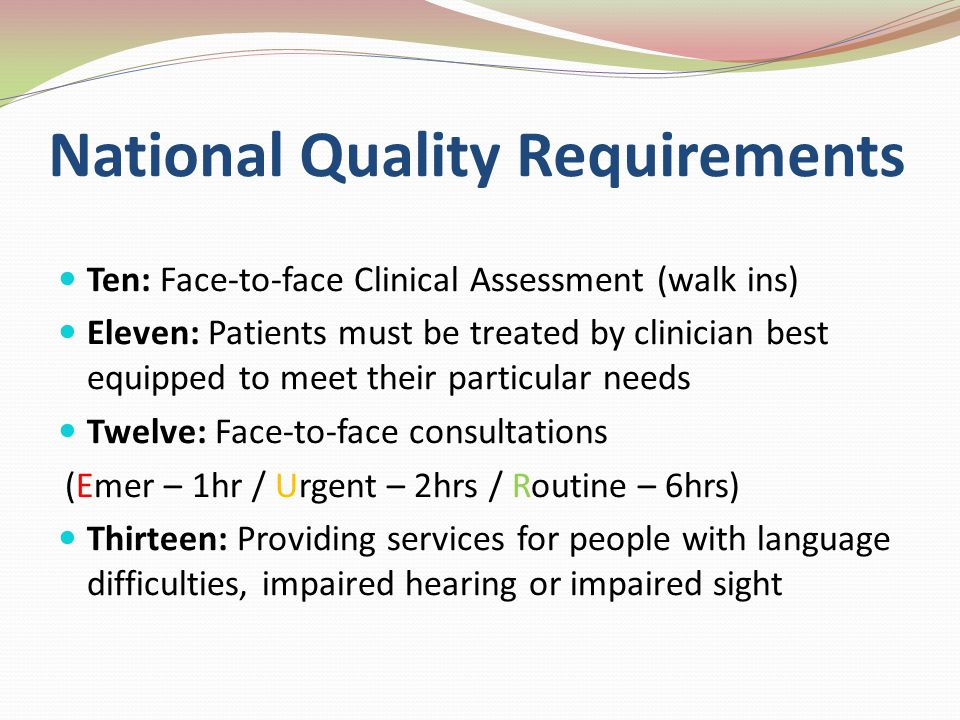 National Quality Requirements