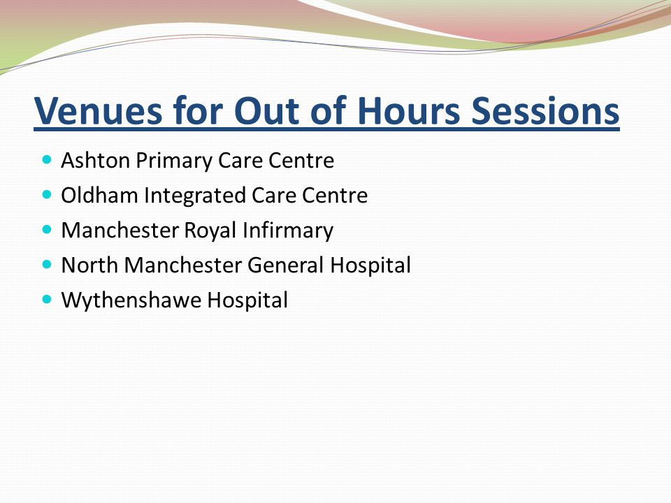 Venues for Out of Hours Sessions