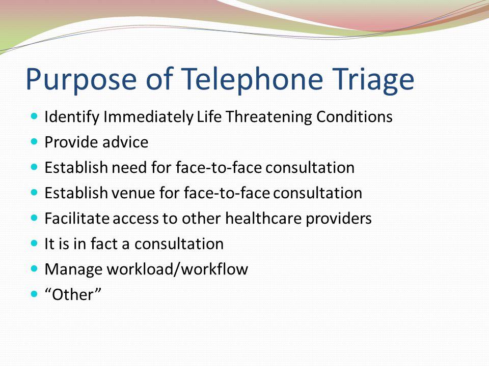 Purpose of Telephone Triage