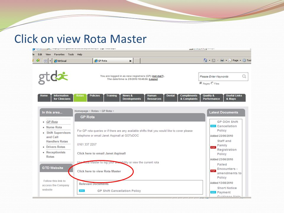 Click on view Rota Master