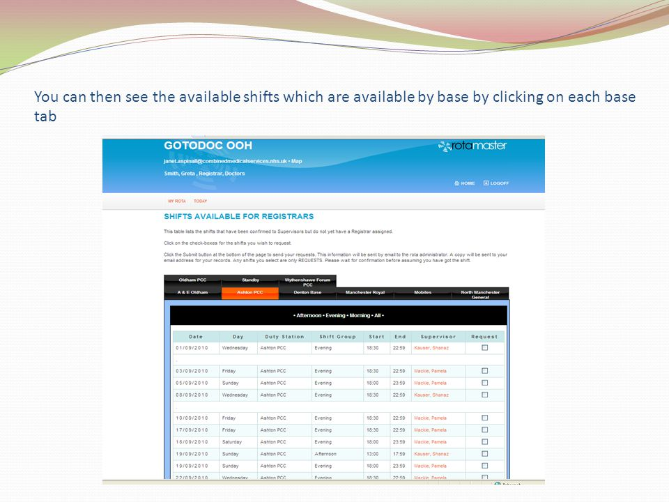 You can then see the available shifts which are available by base by clicking on each base tab
