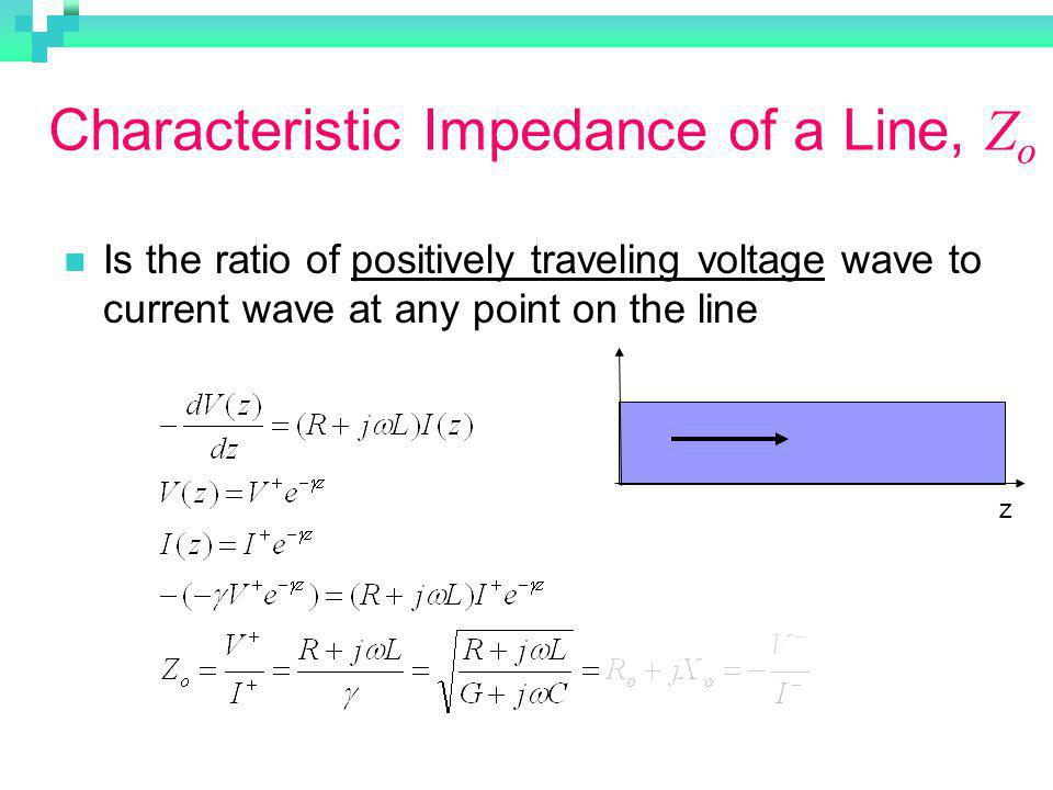 Characteristic Impedance of a Line, Zo