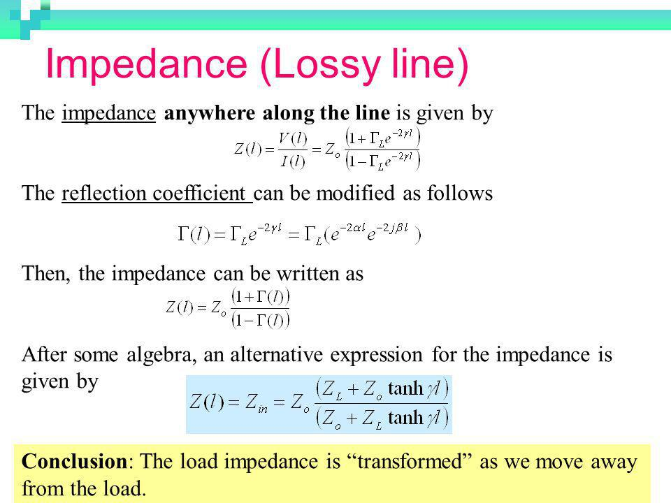 Impedance (Lossy line)