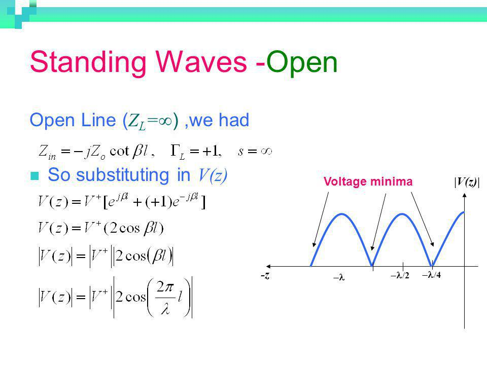 Standing Waves -Open Open Line (ZL=∞) ,we had So substituting in V(z)