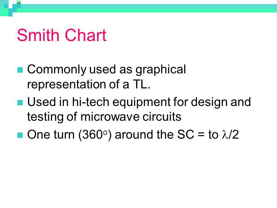 Smith Chart Commonly used as graphical representation of a TL.