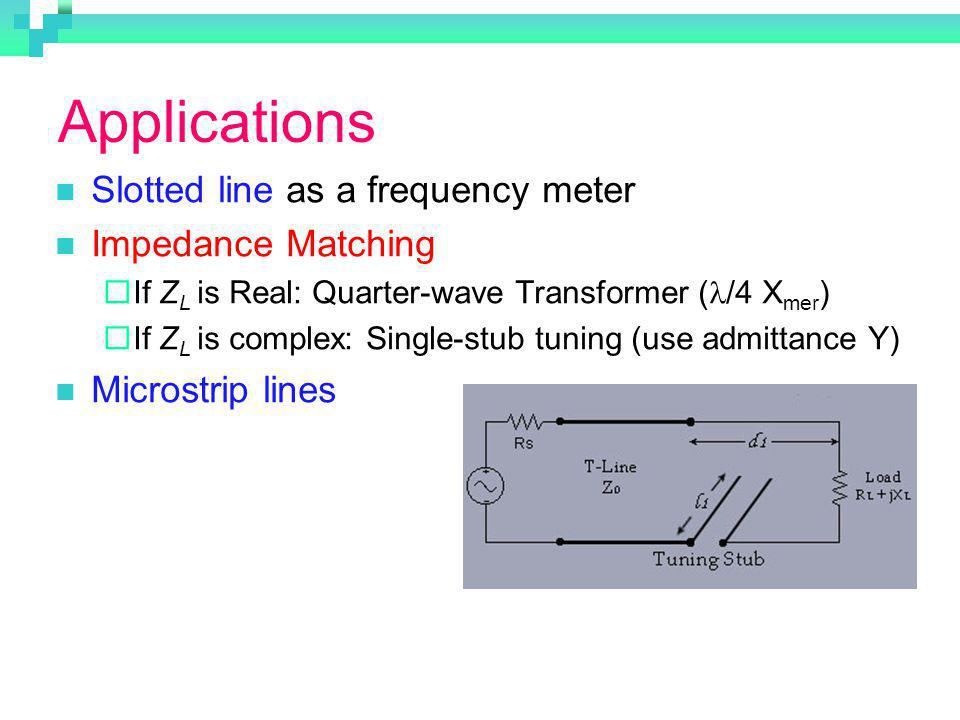 Applications Slotted line as a frequency meter Impedance Matching