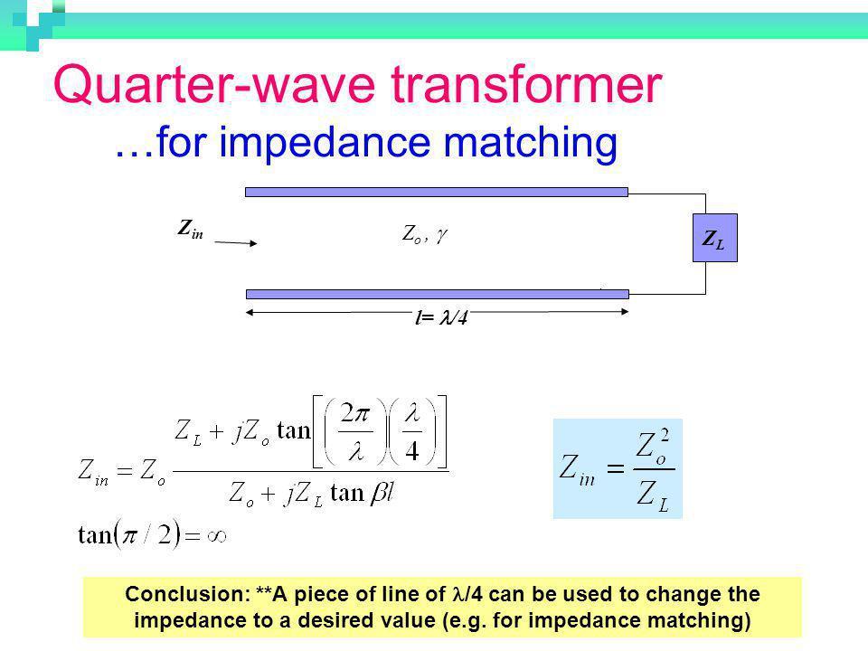 Quarter-wave transformer …for impedance matching
