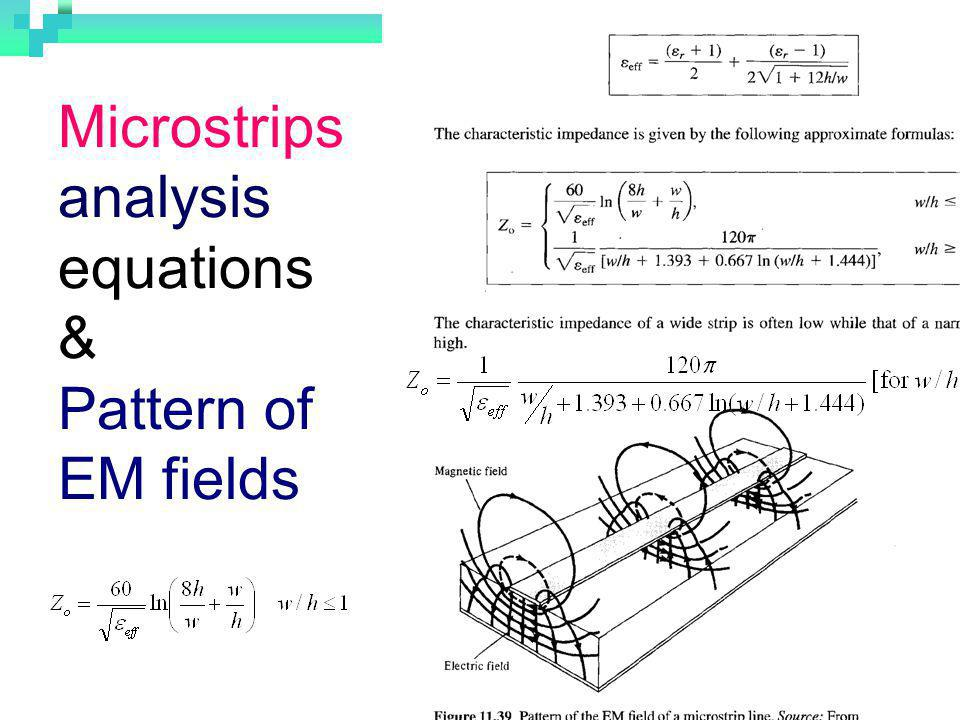 Microstrips analysis equations & Pattern of EM fields