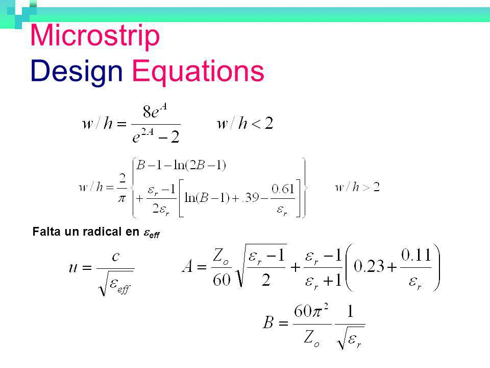 Microstrip Design Equations
