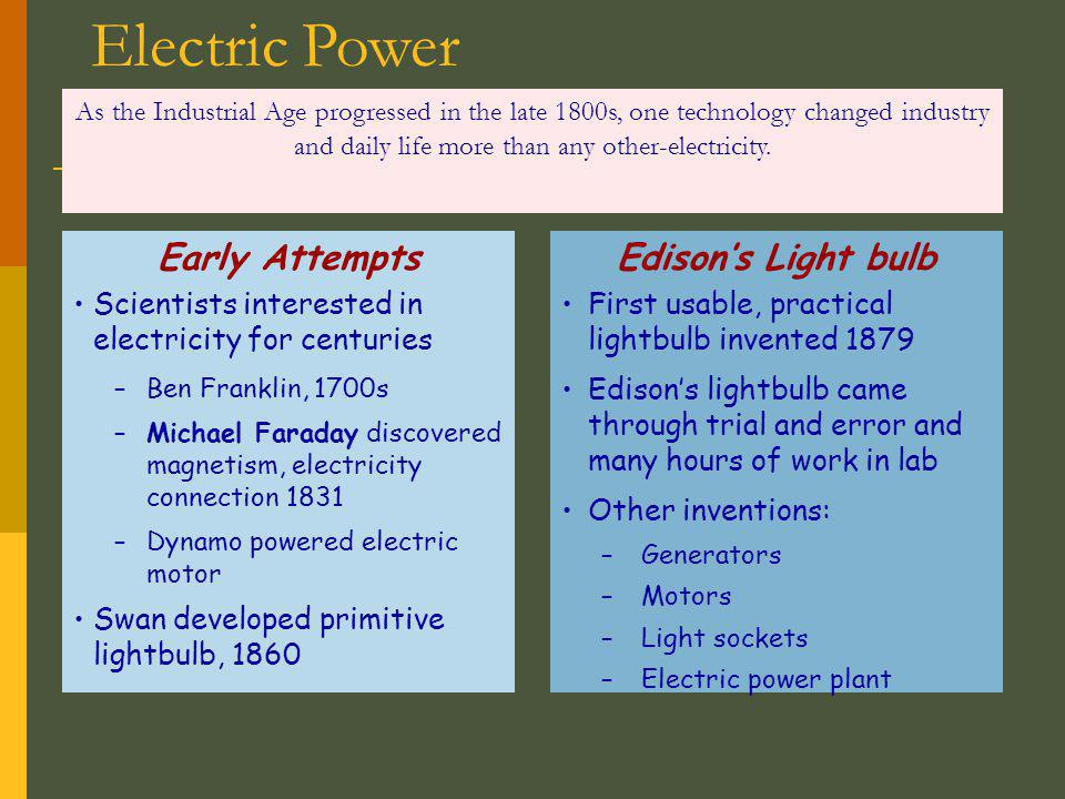 Electric Power Early Attempts Edison's Light bulb