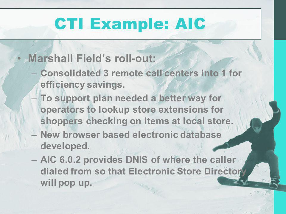 CTI Example: AIC Marshall Field's roll-out: