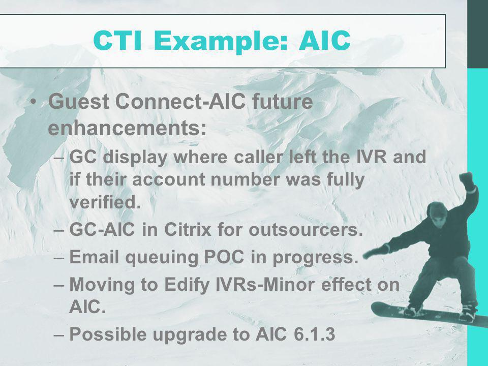CTI Example: AIC Guest Connect-AIC future enhancements:
