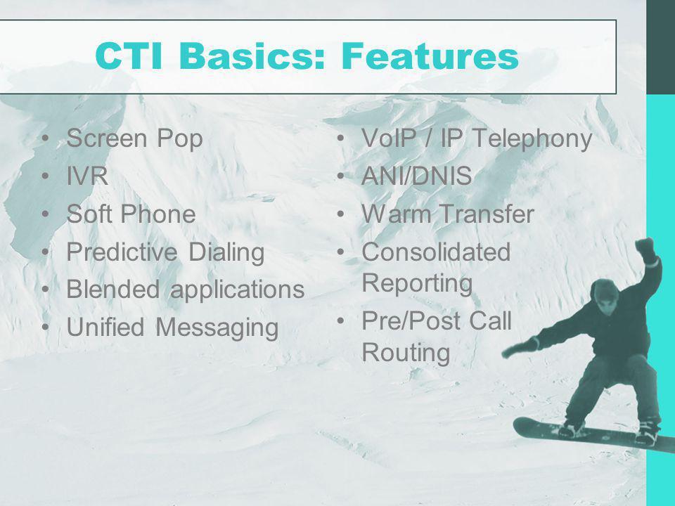 CTI Basics: Features Screen Pop IVR Soft Phone Predictive Dialing