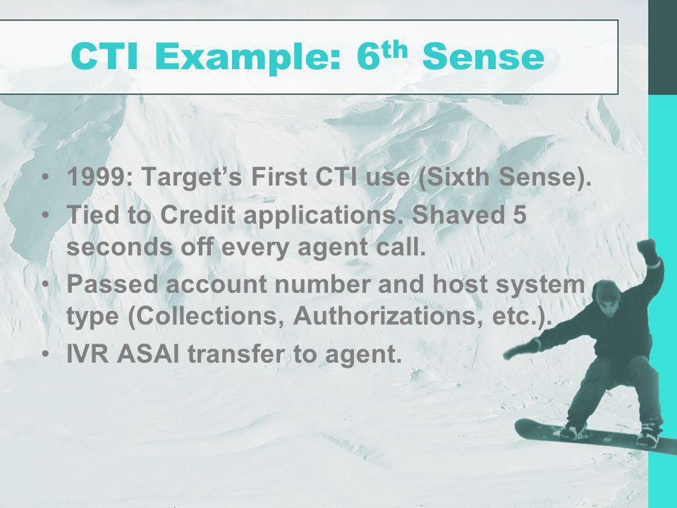 CTI Example: 6th Sense 1999: Target's First CTI use (Sixth Sense).