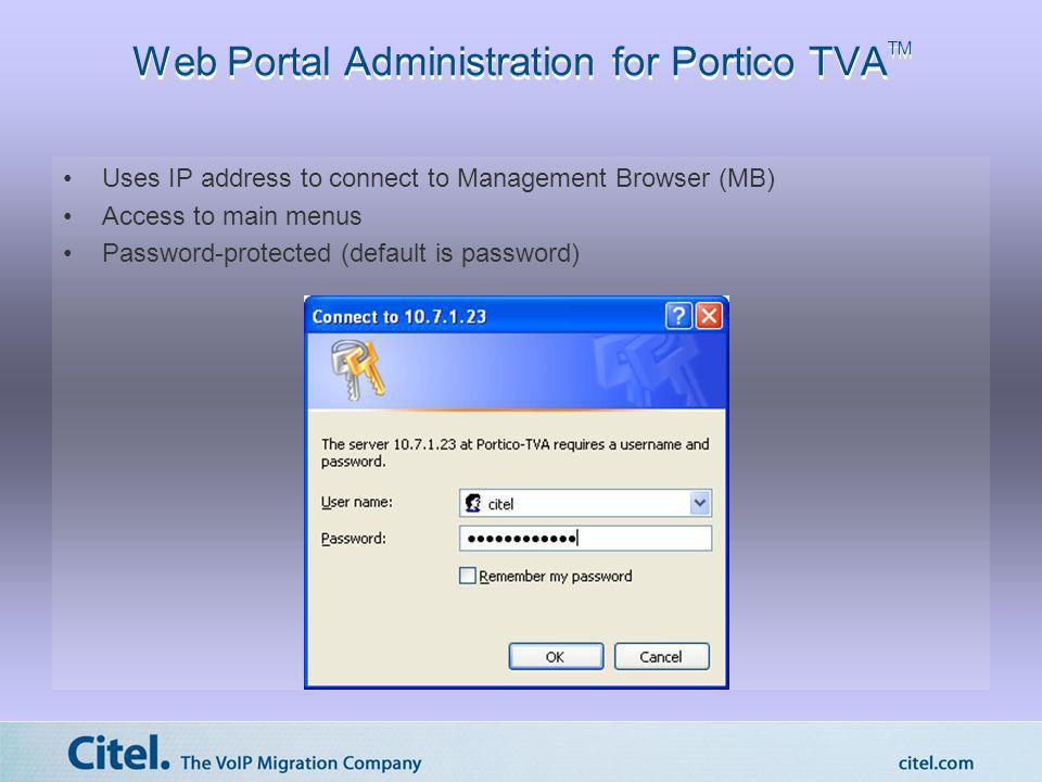Web Portal Administration for Portico TVATM