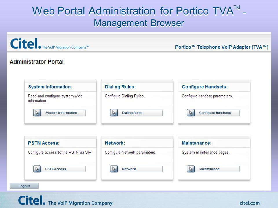 Web Portal Administration for Portico TVATM - Management Browser