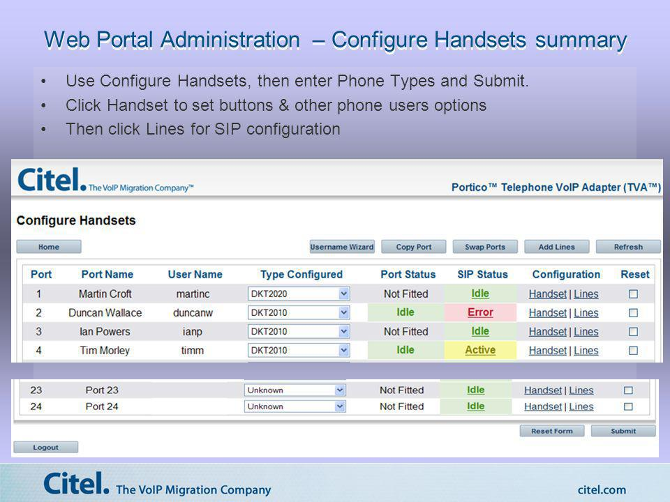 Web Portal Administration – Configure Handsets summary