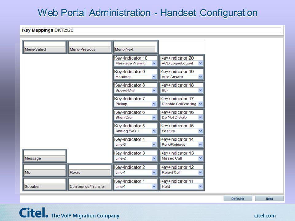 Web Portal Administration - Handset Configuration