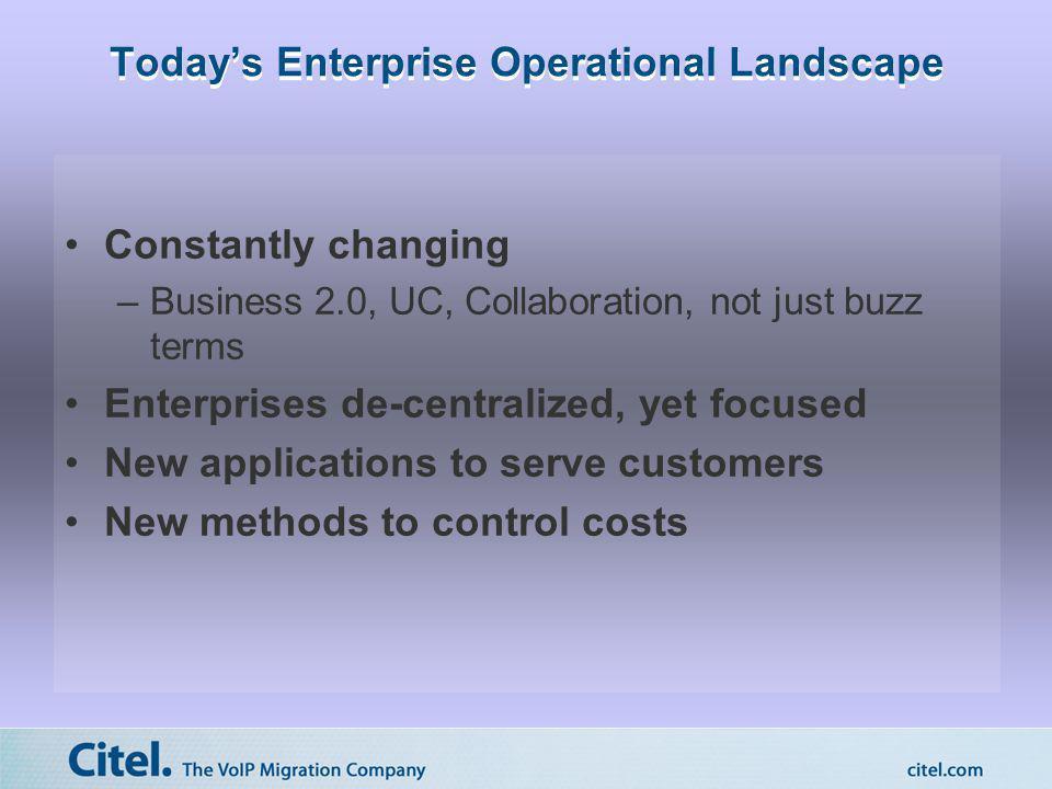 Today's Enterprise Operational Landscape