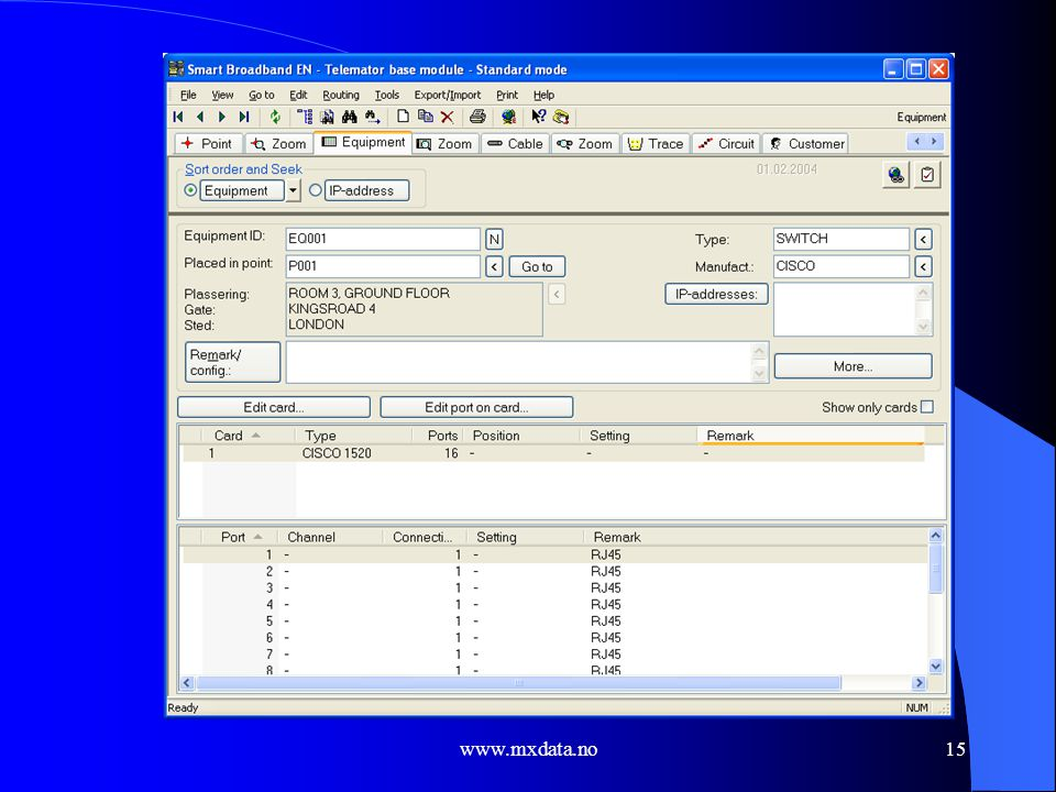 Equipment cardfile screen