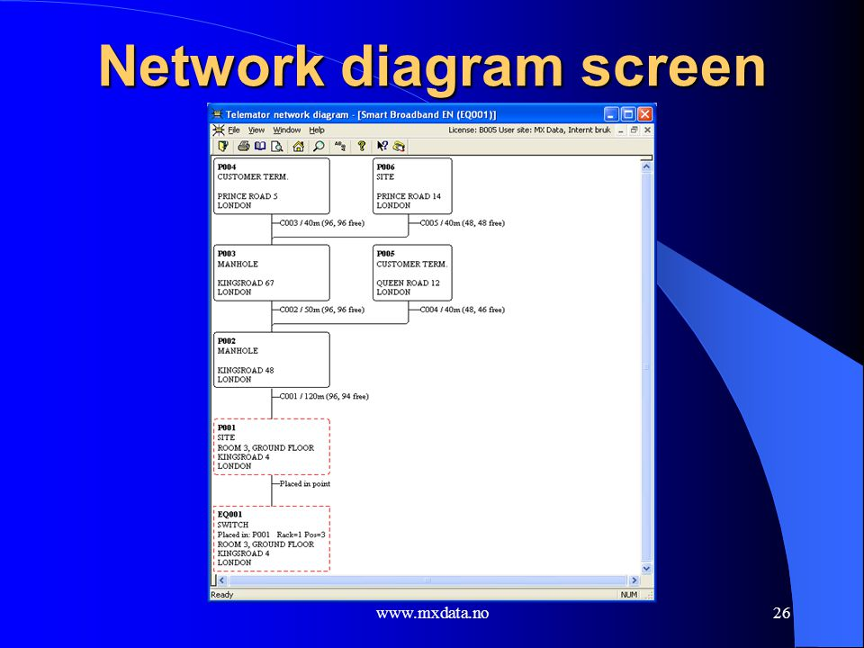 Network diagram screen