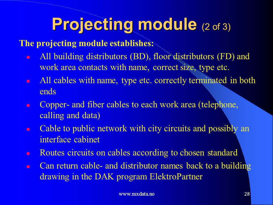 Projecting module (2 of 3)
