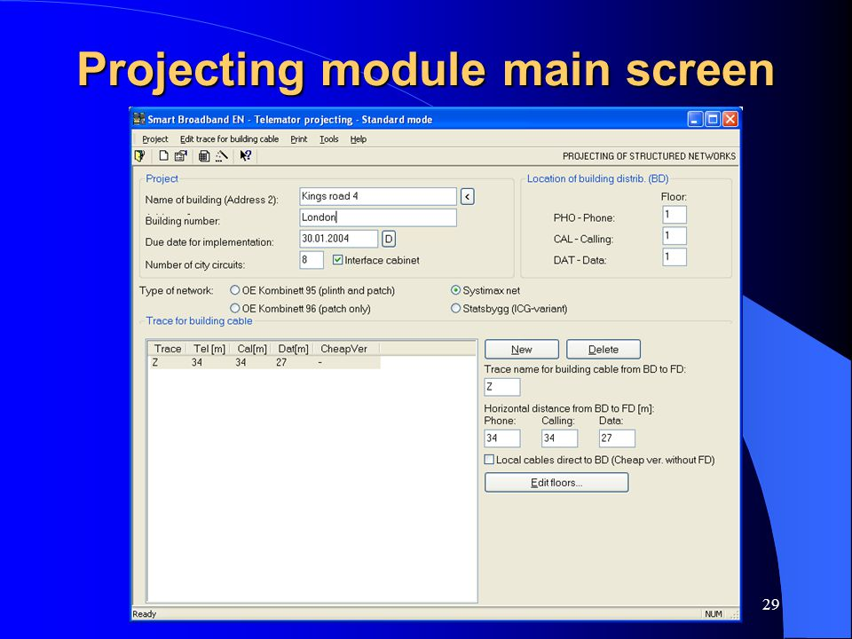 Projecting module main screen