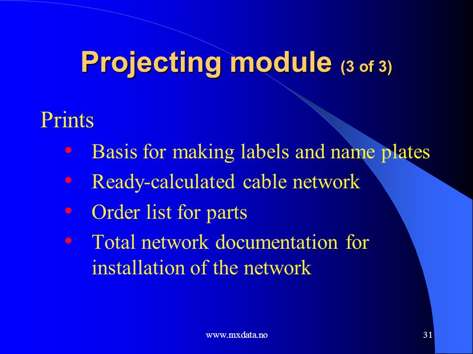 Projecting module (3 of 3)