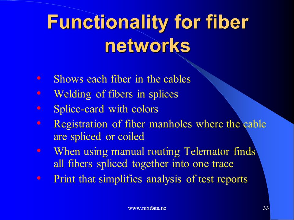 Functionality for fiber networks