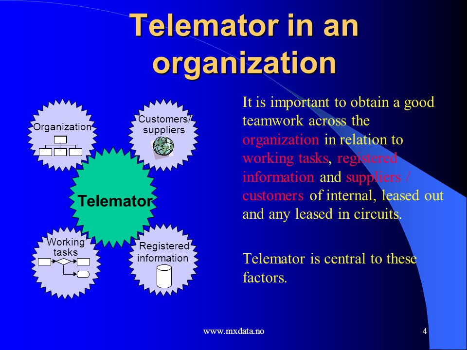 Telemator in an organization