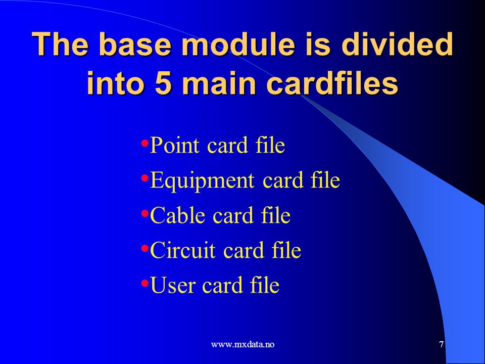 The base module is divided into 5 main cardfiles