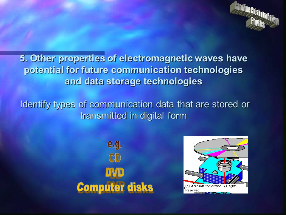 e.g. CD DVD Computer disks