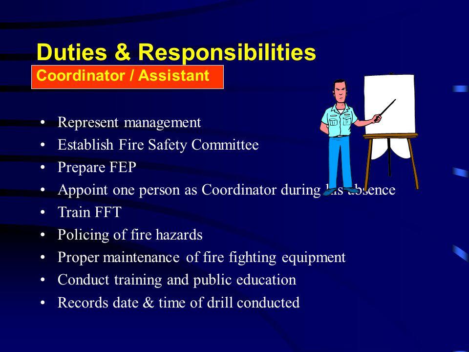 Duties & Responsibilities Coordinator / Assistant