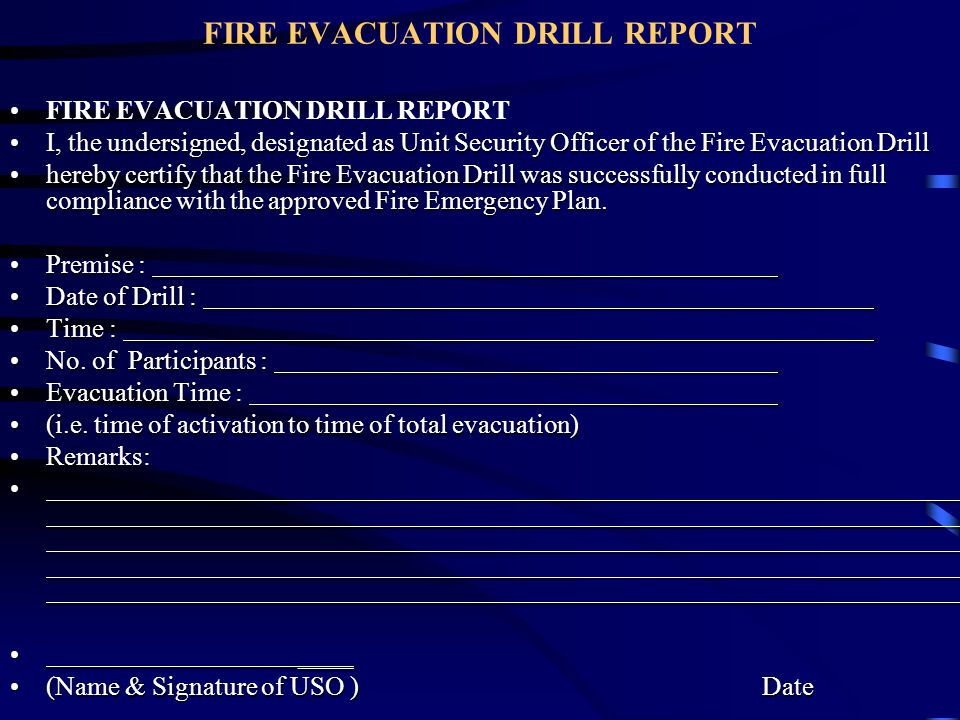 FIRE EVACUATION DRILL REPORT