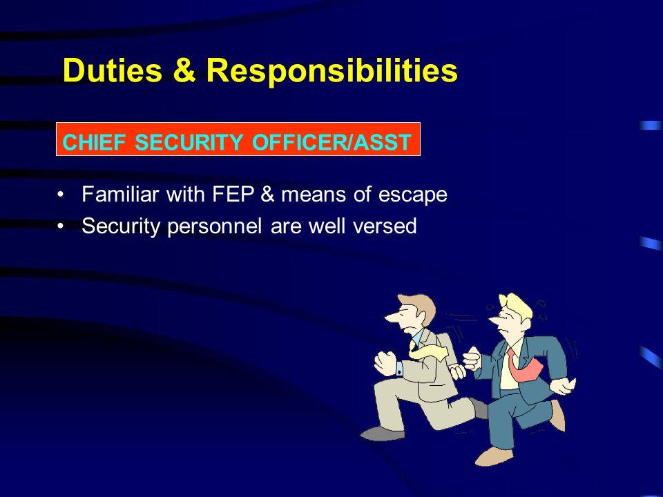 Duties & Responsibilities CHIEF SECURITY OFFICER/ASST