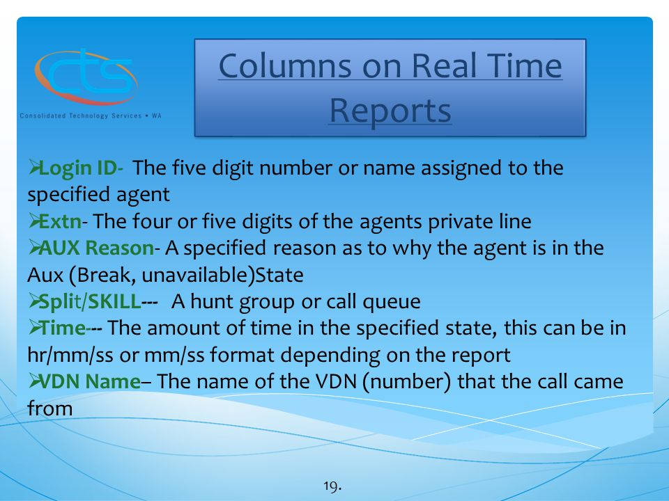 Columns on Real Time Reports