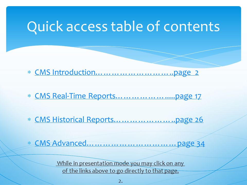 Quick access table of contents