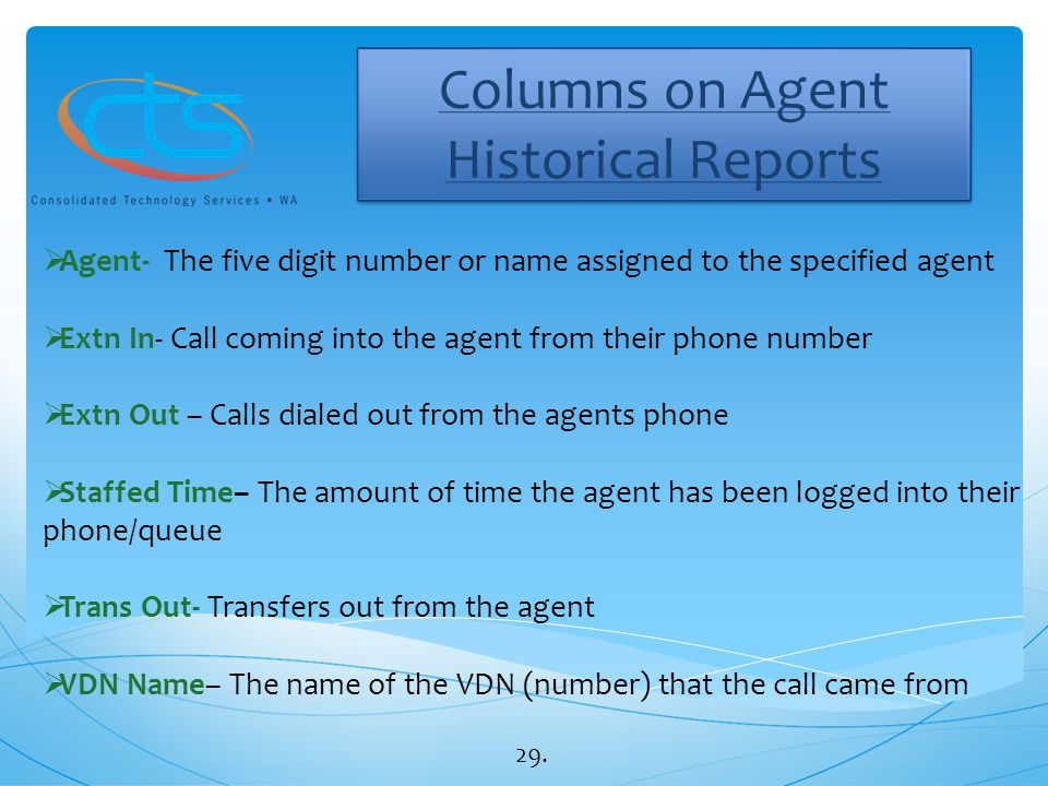 Columns on Agent Historical Reports