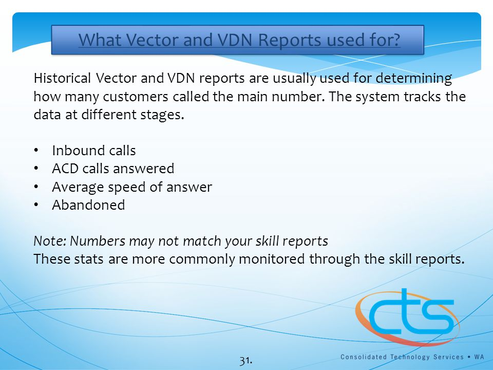 What Vector and VDN Reports used for