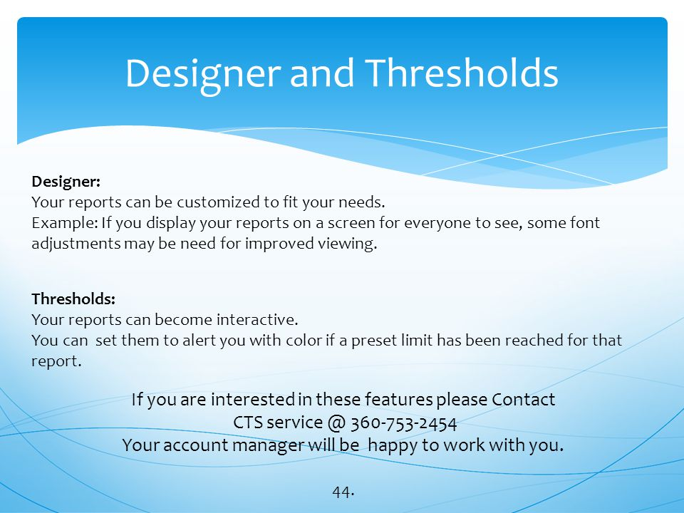 Designer and Thresholds