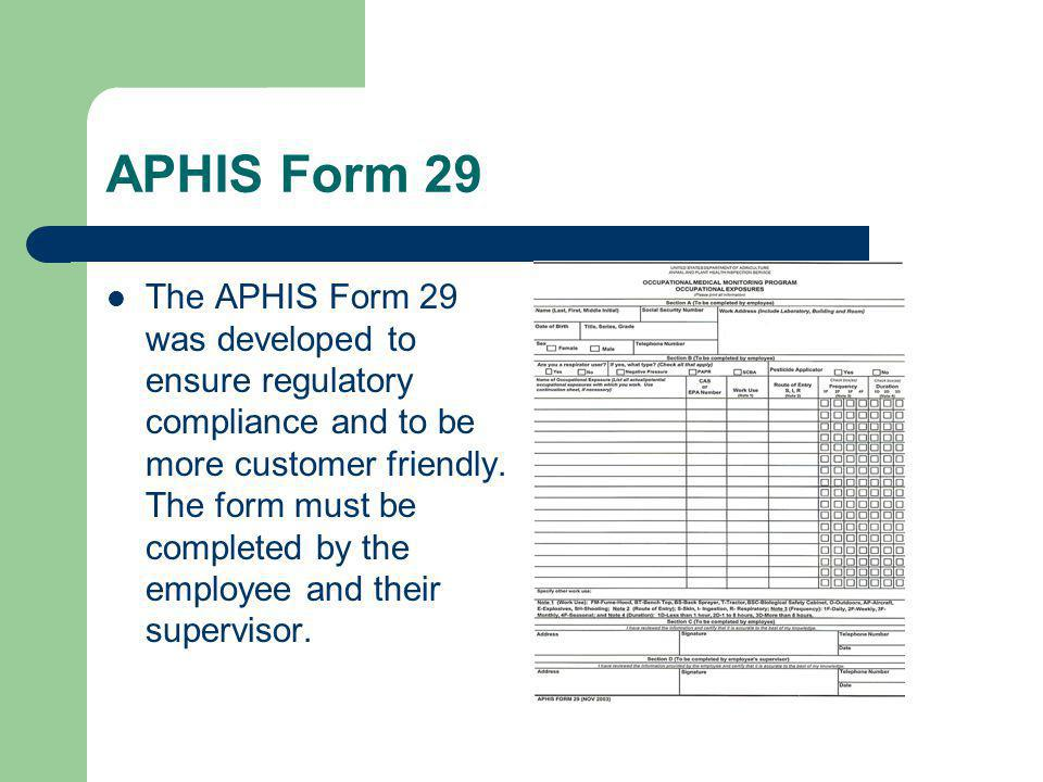 APHIS Form 29