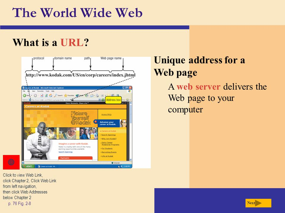The World Wide Web What is a URL Unique address for a Web page