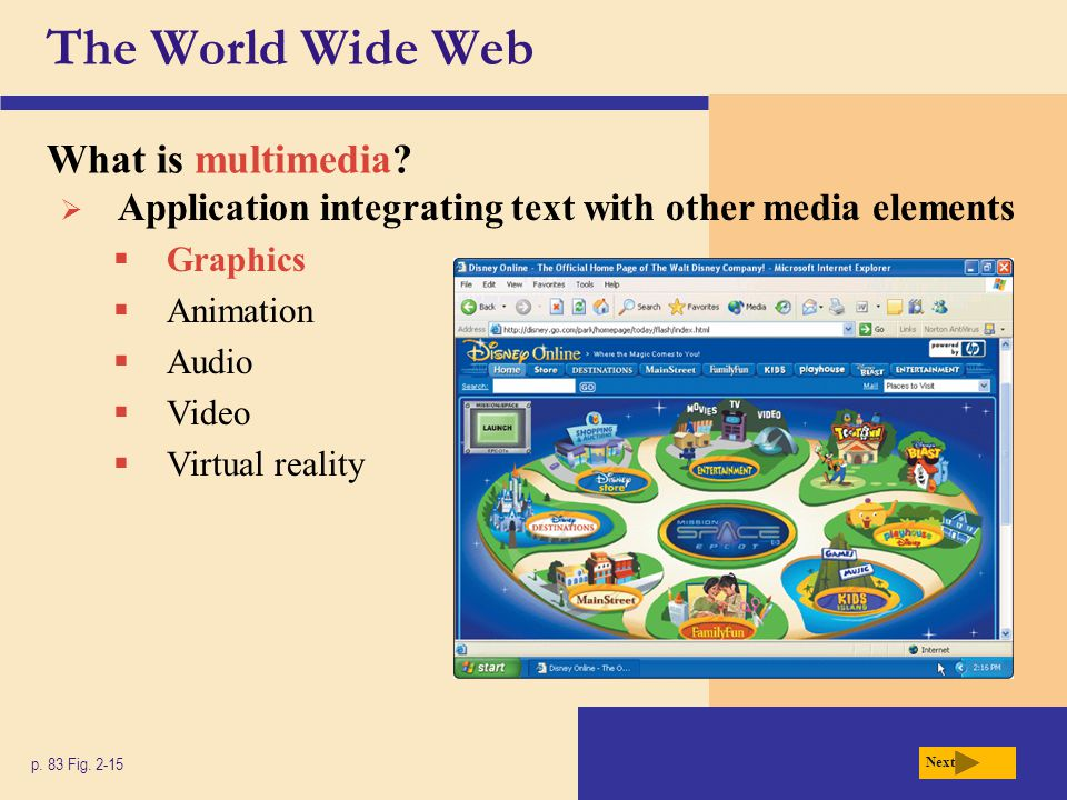 The World Wide Web What is multimedia
