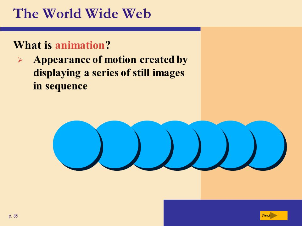 The World Wide Web What is animation
