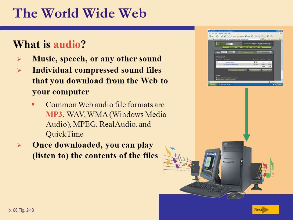 The World Wide Web What is audio Music, speech, or any other sound
