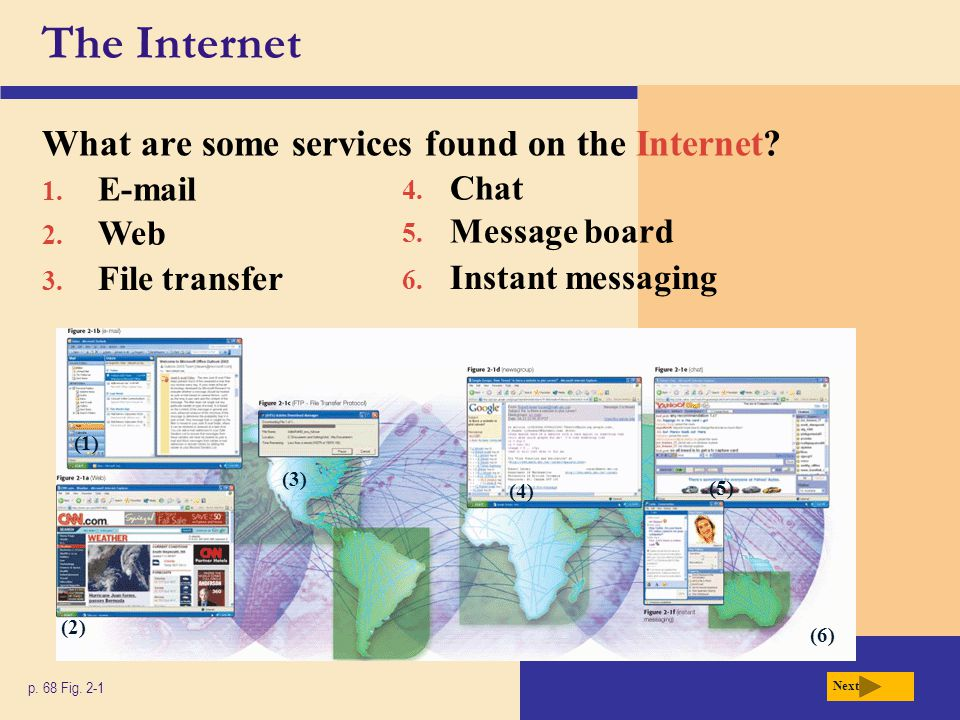 The Internet What are some services found on the Internet E-mail Chat