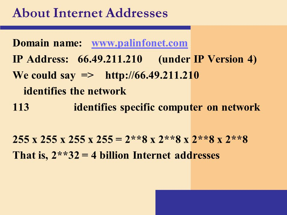 About Internet Addresses