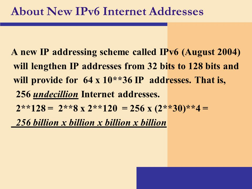 About New IPv6 Internet Addresses