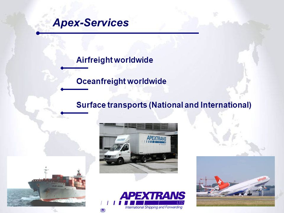 Oceanfreight worldwide Surface transports (National and International)
